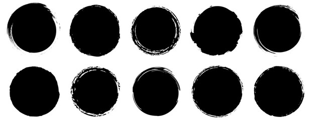 Grunge banner collection. Grounge round shapes big set. Vector