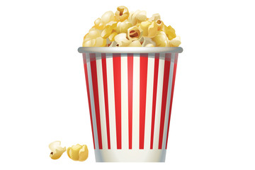 Red and white stripped bucket of popcorn vector illustration isolated on white background