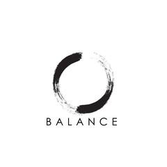 Obraz simple abstract logo design of zen with circular brush stroke. - fototapety do salonu