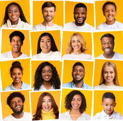 Collage of diverse multiethnic people smiling over yellow background
