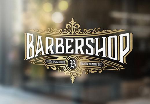 Vintage Barber Shop Logo with Floral Elements