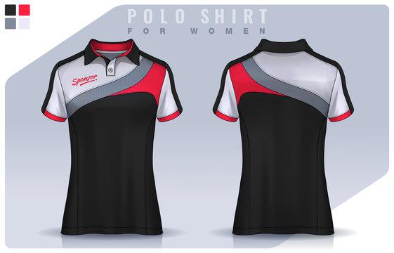 t-shirt sport design for women, Soccer jersey mockup for football club.  Polo Uniform template.