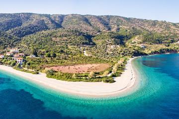 The beach Agios Dimitrios of Alonissos from drone, Greece