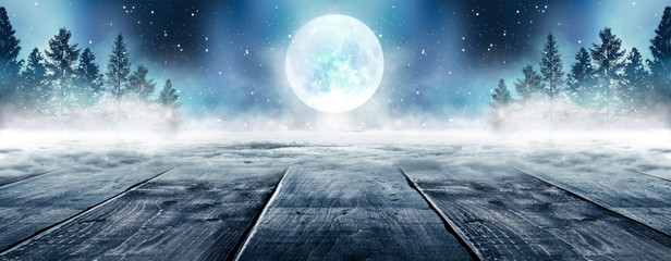 Aluminium Prints Dark grey Winter background. Winter snow landscape with wooden table in front. Dark winter forest background at night. Snow, fog, moonlight. Dark neon night background in the forest with moonlight.