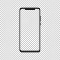 Realistic smartphone with blank screen. Smartphone mockup isolated on transparent background. Vector illustration.