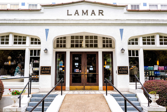 Hot Springs, USA - June 4, 2019: Historical Lamar Baths Spa bath house exterior architecture entrance of building in historic city