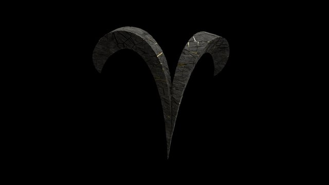 Rock stone zodiac sign isolated on black background. 3d render of aries symbol