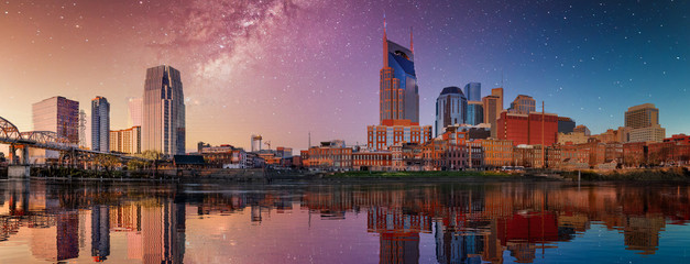 Fototapete - Nashville skyline with blue and purple sky