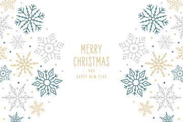 Fototapete - Christmas snowflakes elements ornaments decoration greeting card on isolated white background