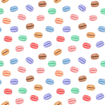 Colorful macarons. Seamless Pattern. Vector white background