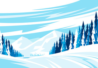 Vector illustration of a winter landscape a mountainous area, snowy slope with a village in the valley