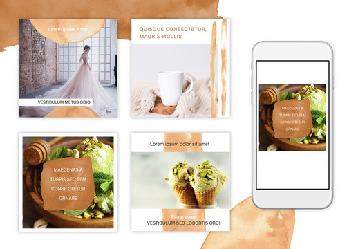 Watercolor Social Media Posts Layout Set