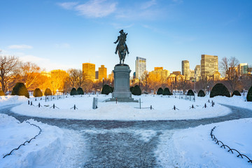 View on George Washington statue in Boston public garden at winter
