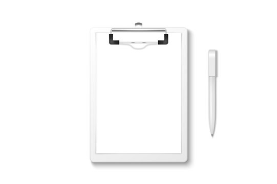 Vector 3d Realistic White Clipboard with Blank Paper, Metal Clip, Automatic Pen Set Closeup Isolated on White Background. Design Template for Notes, Mockup, Checklist, Questionnaire, Reminders