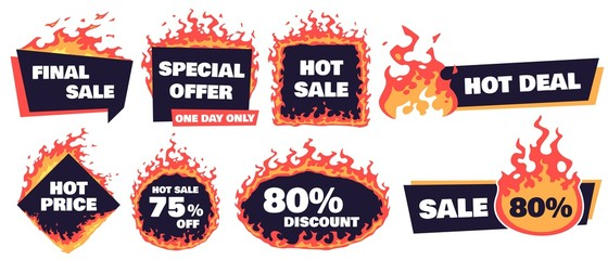 Hot sale badges. Fire deal banner, hot price badge and promotion offer flaming label frame. Store sale symbols, shopping price flyer or retail specials burn prices. Isolated vector signs set