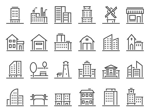 Line buildings icons. City building, hotel and store icon. Warehouse, industrial building and church. Line architecture buildings, apartment silhouette. Isolated vector icons set