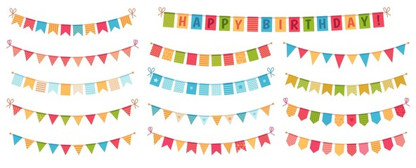 Party bunting. Color paper triangular flags collected and draped in garlands, happy birthday buntings. Party celebration bunting, fabric festive flag. Cartoon isolated vector icons set