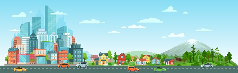 Urban road with cars landscape. City road traffic, big city buildings, suburban houses and wild nature landscape. Residential and road panorama, transportation district vector illustration Fotobehang