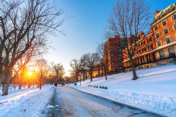 View on Boston common at winter sunset