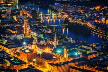 Aerial view over Frankfurt am Main at night