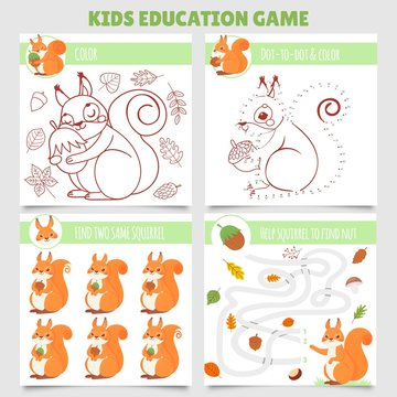 Cartoon squirrel kids games. Find two same pictures, squirrel and nut maze, coloring game and dot to dot. Kindergarten learning games with squirrel character. Isolated vector illustration set