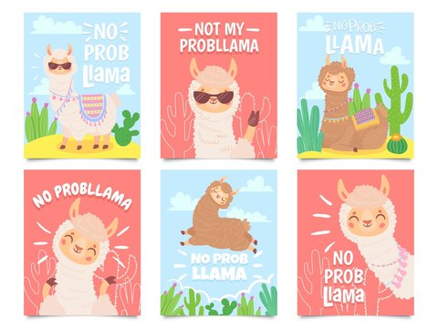 No prob llama posters. Cute llamas have no problems greeting cards, beautiful wildlife animals. Motivation alpaca llama character quote slogan card. Isolated vector illustration icons set