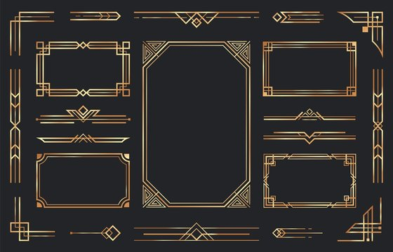 Golden art deco ornaments. Arabic antique decorative gold border, retro geometric ornamental frame and ornate golden corners. Geometry deco label, old victorian decoration. Isolated vector symbols set