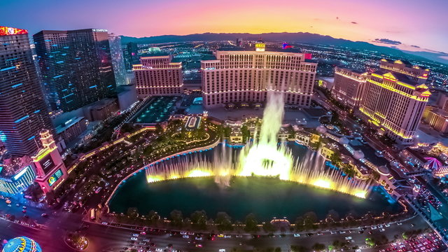 Bellagio Fountains aerial
