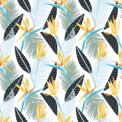 Bird of paradise flower, tropical seamless pattern with palm tree