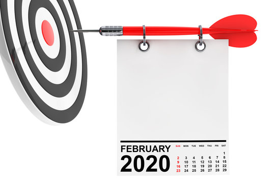 Calendar February 2020 with Target. 3d Rendering