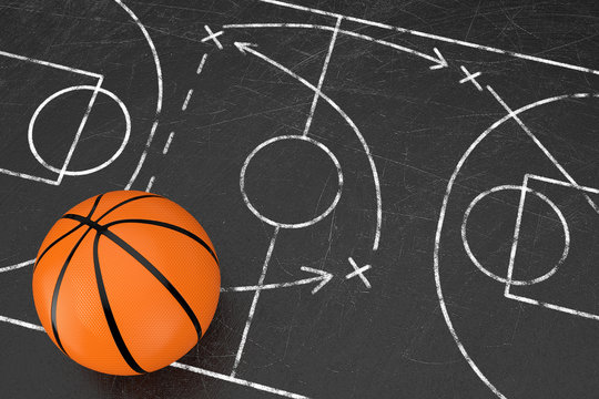 Basketball Tactics Concept. Basketball Ball over Black Chalkboard with Basketball Court and Game Strategy and Tactics Scheme. 3d Rendering