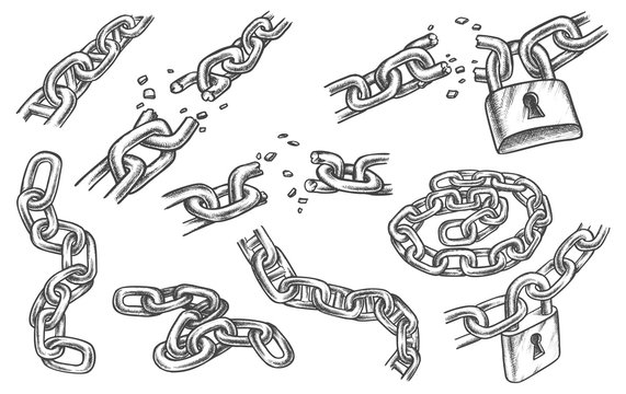 Sketches of chain links and lock, bond and padlock