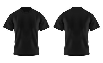 Wall Mural - Front and back of blank black t-shirt for man