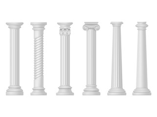 Antique white columns, Greek and Roman architecture