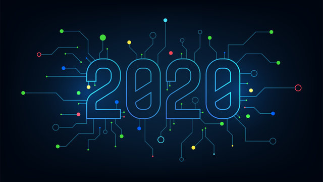 2020 graphic text number technology background