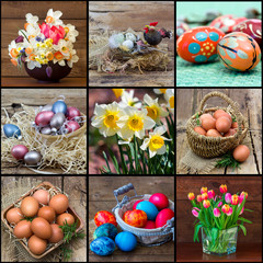 easter collage - pictures with eggs and easter decoration
