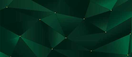 Abstract deep green 3d background with polygonal pattern, little golden dots, dark outline lines. Modern geometric invitation card.  VIP jewelry business sale banner. Premium Xmas, Happy New Year 2020 Fototapete