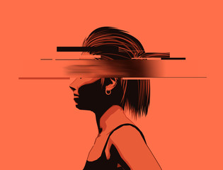 A young lady with a partially obscured face, glitch effect. Mental wellbeing, womens issues and rights concept. Vector illustration