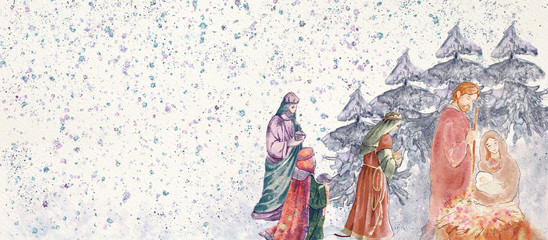 Nativity scene with three wise men .Merry Christmas watercolor background.