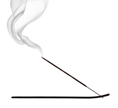 Burning incense stick on white background