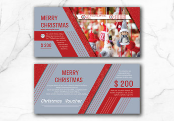 Christmas Voucher Layout with Red Accents