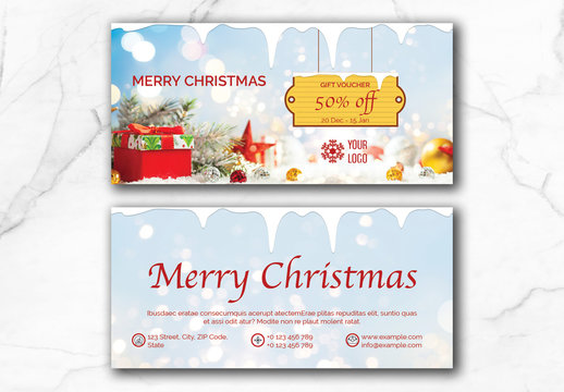 Christmas Voucher Layout with Blue Accents