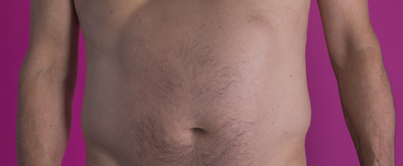 big hairy male belly closeup