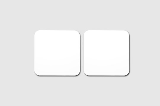 Blank white Beer Coasters Mock up, top view, lying on white background.3D rendering