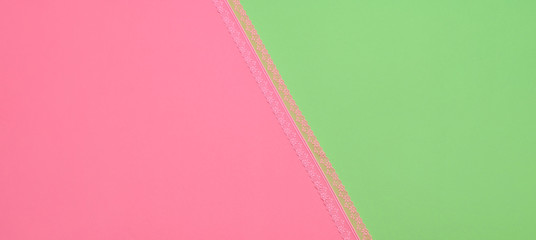 Fashion Coloful pink green blue background with lace. Minimal. Trendy spring summer color. Creative vibrant pop art fashionable concept.