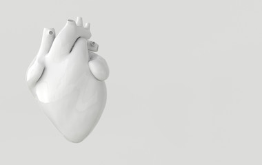 Realistic human heart organ with arteries and aorta 3d rendering. Happy Valentines Day greeting card. Romantic background. White ceramic heart