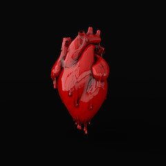 Realistic human heart organ with arteries and aorta 3d rendering. Happy Valentines Day greeting card. Romantic background. Red melted heart