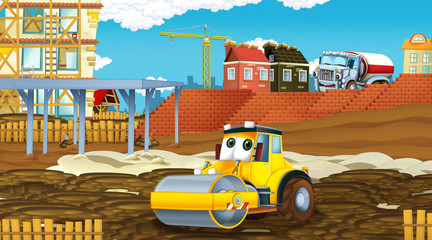 Printed roller blinds Cars cartoon scene with industry cars on construction site - illustration for children