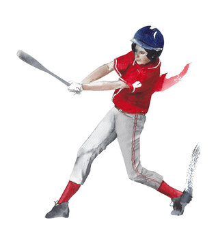 Baseball junior player sport activity watercolor painting illustration isolated on white background