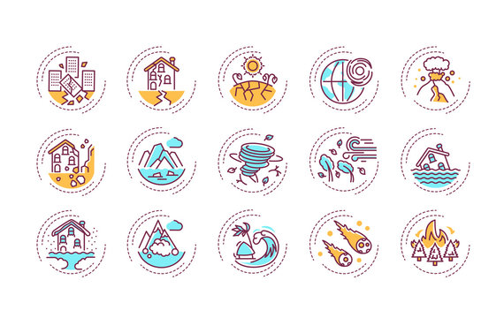Natural disasters color line icons set. A major adverse event resulting from natural processes of the Earth. Pictogram for web page, mobile app, promo. UI UX GUI design element. Editable stroke.